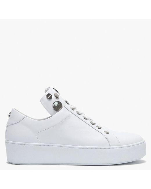 Daniel Nadina White Leather Studded Lace Up Trainers