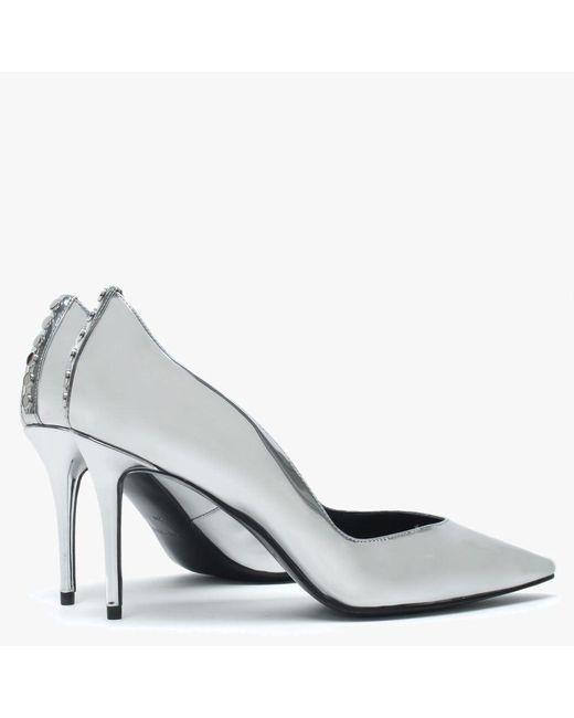 fc54bdb248d ... Kendall + Kylie - Brianna Silver Metallic Studded Court Shoes - Lyst ...