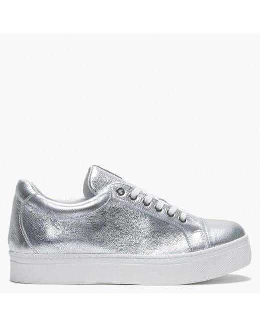 Daniel Svenja Silver Metallic Leather Trainers