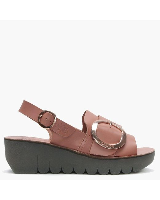 Fly London Pink Yidi Rose Leather Chunky Sling Back Wedge Sandals