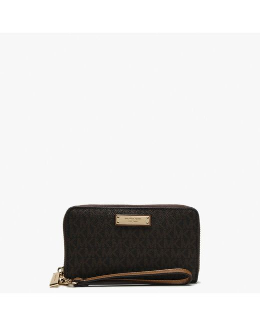 Michael Kors Brown Logo Wristlet Smartphone Case Wallet