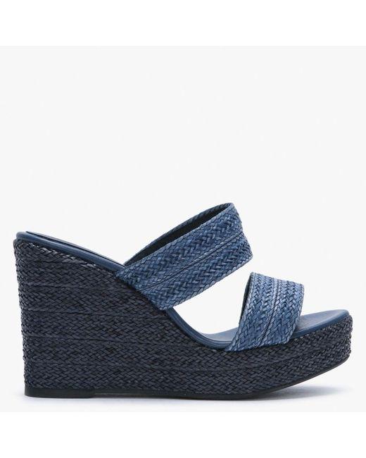 Carmen Saiz Blue Navy Woven Slip On Wedge Sandals