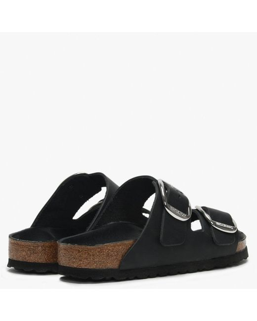 e2cff755d48 ... Birkenstock - Arizona Big Buckle Black Leather Two Bar Mules - Lyst ...