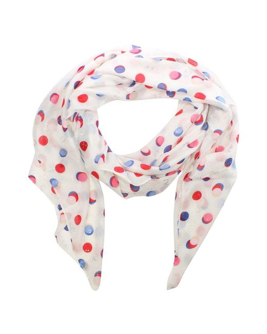 Armani Jeans | All Over Dotty Print White Scarf | Lyst