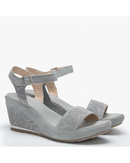 3499b44e996 Lyst - Daniel Footwear Grey Suede Embellished Wedge Sandals in Gray