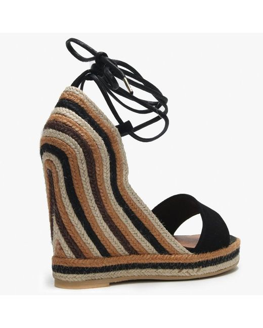 378eadd7d9a Women's Caria Black Suede Striped Jute Wedge Espadrille Sandals