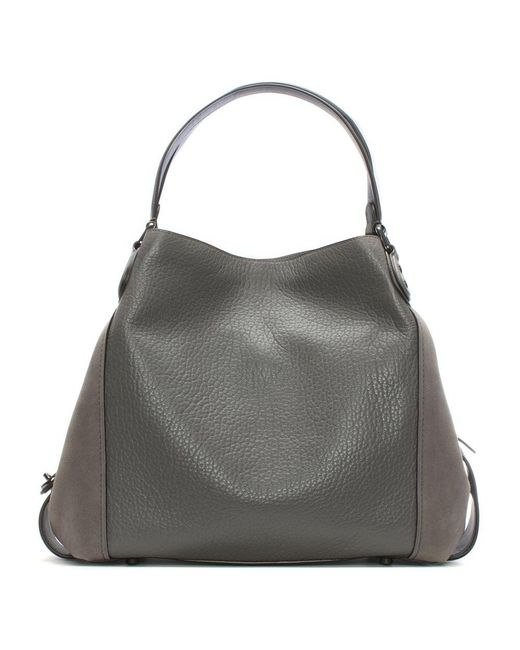 COACH | Gray Turnlock Edie Metallic Graphite Polished Pebbled Leather Shoulder Bag | Lyst