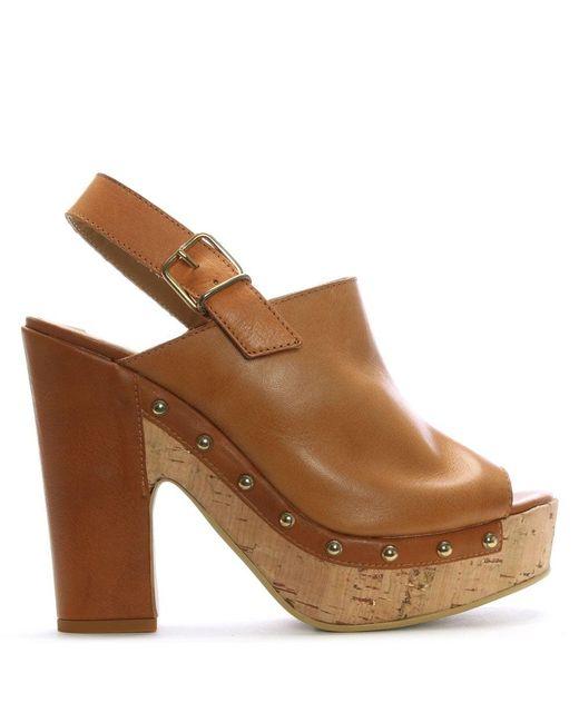 Donna Più | Brown Tan Leather Studded Platform Sandals | Lyst