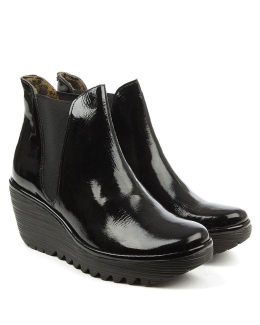 Fly London Woss Black Patent Leather Wedge Ankle Boot In