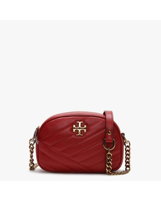 Tory Burch Kira Chevron Small Red Apple Leather Camera Bag Accessori