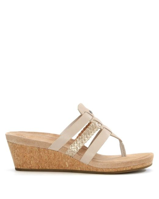 Ugg Maddie Horchata Leather Woven Strap Wedge Sandal Lyst