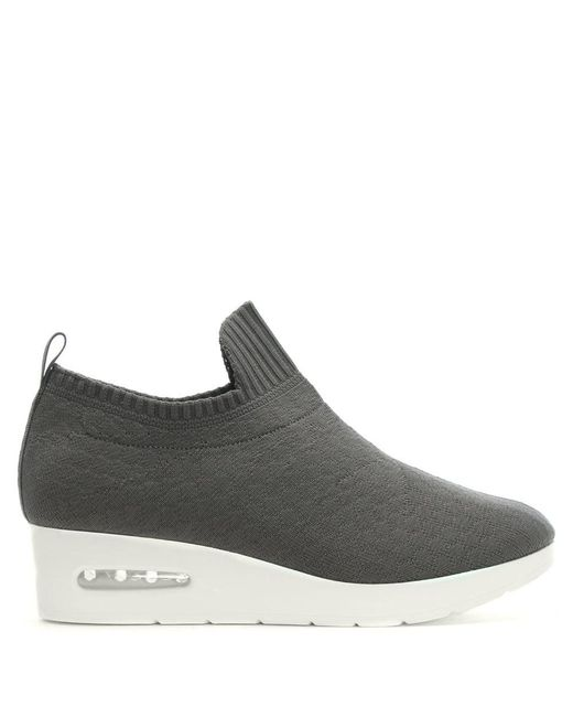 Dkny Angie Grey Knitted Low Wedge Trainers In Gray Lyst