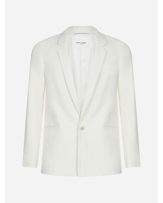 Blazer in misto seta e viscosa di Saint Laurent in White