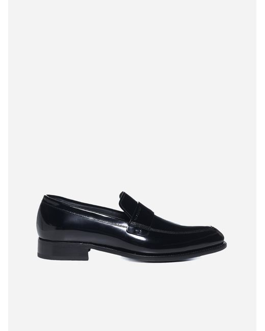 Givenchy Blue Logo Patent Leather Loafers for men