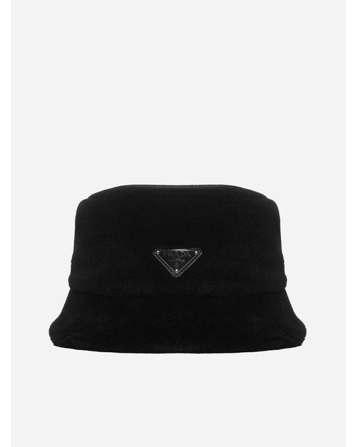 Prada Black Shearling Bucket Hat
