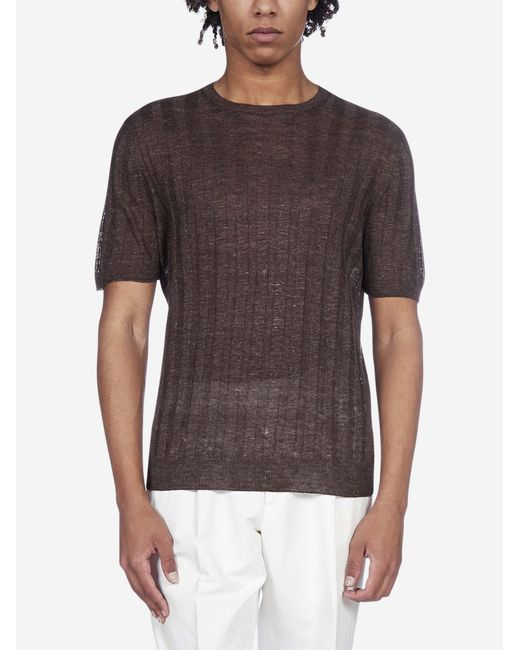 T-shirt in maglia di lino a coste di Tagliatore in Brown da Uomo