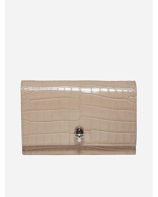 Alexander McQueen Natural Skull Crocodile-effect Leather Mini Bag