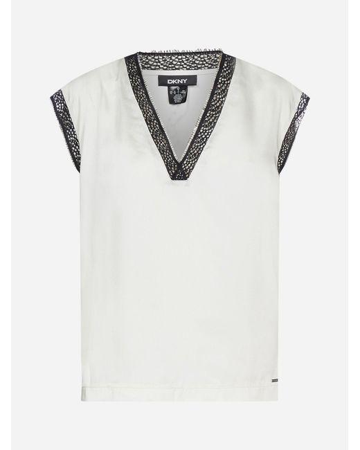 Top con pizzo di DKNY in White