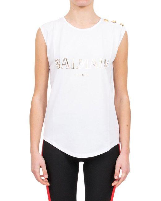 Lyst balmain logo printed cotton t shirt in white for Balmain white logo t shirt