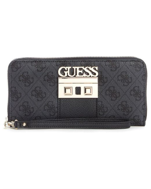 Guess - Black Logo Luxe Large Zip Around Wallet - Lyst