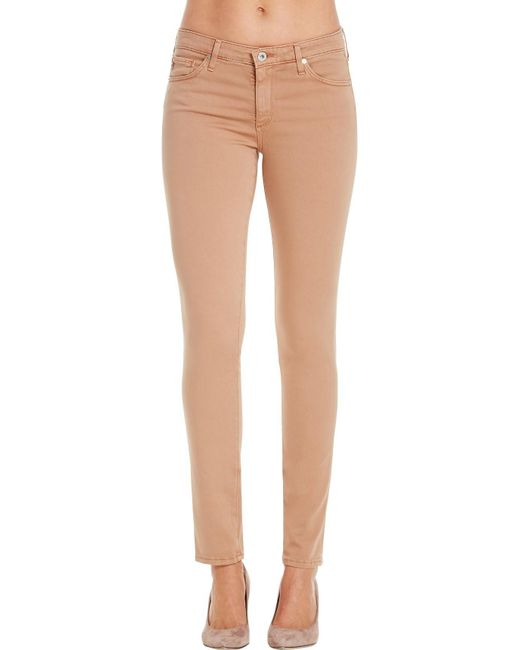 AG Jeans | Natural Prima Mid Rise Slim Sateen Jean | Lyst