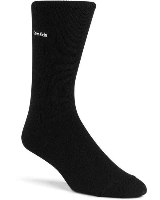 Calvin Klein   Black Signature Flat Knit Crew Socks for Men   Lyst