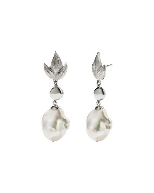 Meadowlark - Metallic Etched Leaf Baroque Drop Earrings - Lyst