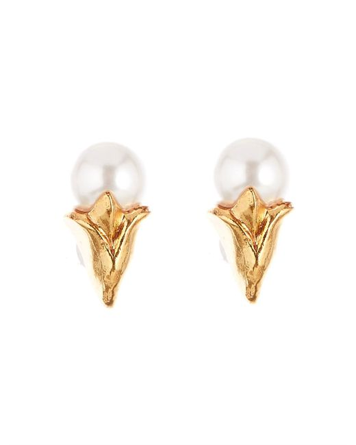 Oscar de la Renta Metallic Pearl Tulip Stud P Earring