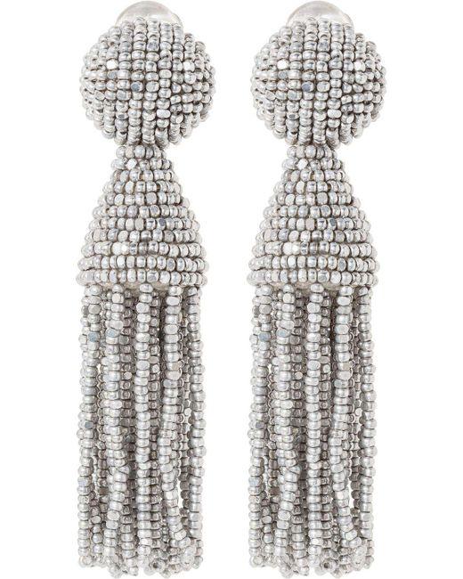 Oscar de la Renta   Metallic Classic Beaded Tassel Clip-on Earrings   Lyst