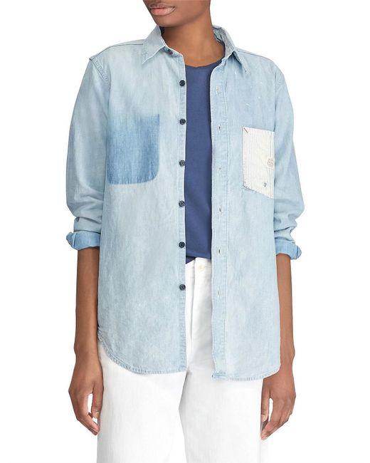Polo Ralph Lauren - Blue Denim Shirt With Stripe Pocket - Lyst
