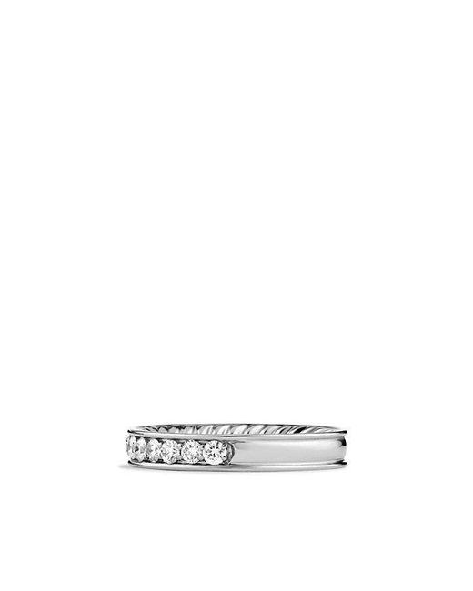 David Yurman - Metallic Dy Eden Eternity Wedding Band With Diamonds In Platinum, 3.3mm - Lyst