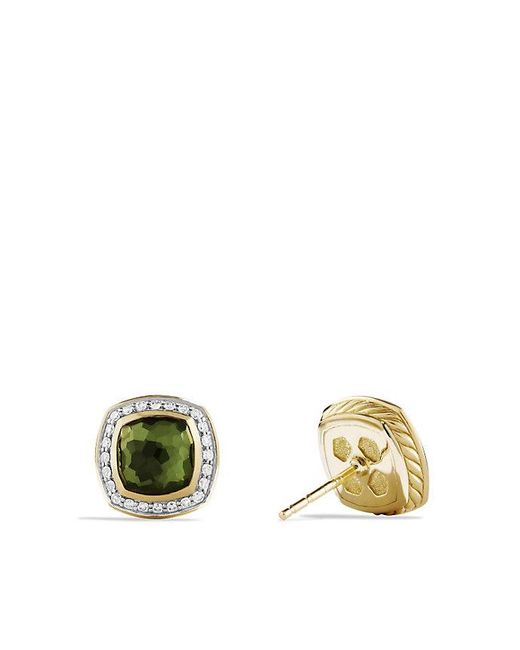 David Yurman | Metallic Albion® Earrings With Green Orchid And Diamonds In 18k Gold, 7mm | Lyst