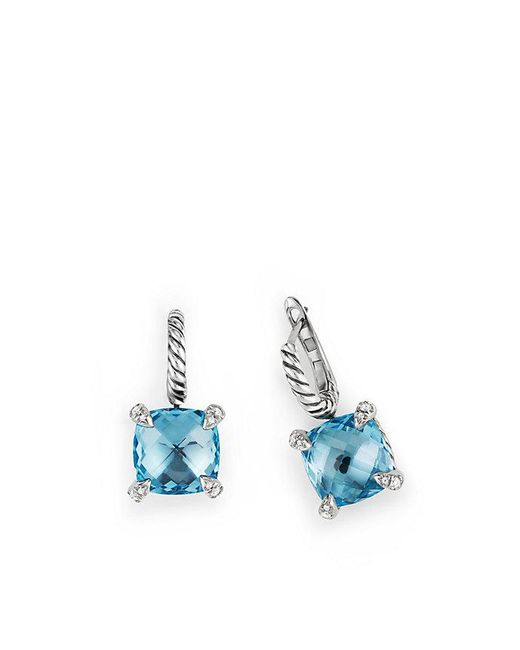 David Yurman - Châtelaine Drop Earrings With Blue Topaz And Diamonds - Lyst