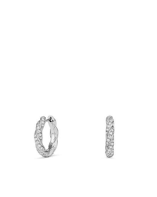 David Yurman - Pavé Flex Huggie Hoop Earrings With Diamonds In 18k White Gold - Lyst