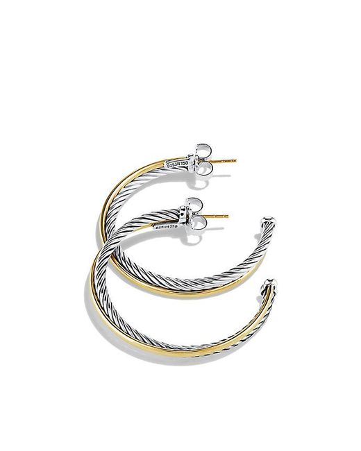 David Yurman - Metallic Crossover Extra-large Hoop Earrings With Gold - Lyst
