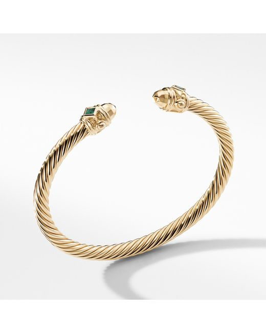 David Yurman Metallic Renaissance Bracelet In 18k Gold With Dome And Emeralds Lyst