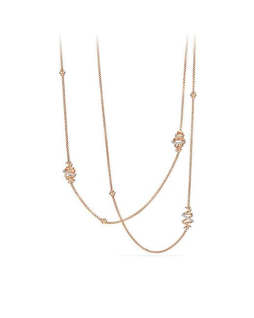 David Yurman - Metallic Crossover Station Necklace With Diamonds In 18k Rose Gold - Lyst