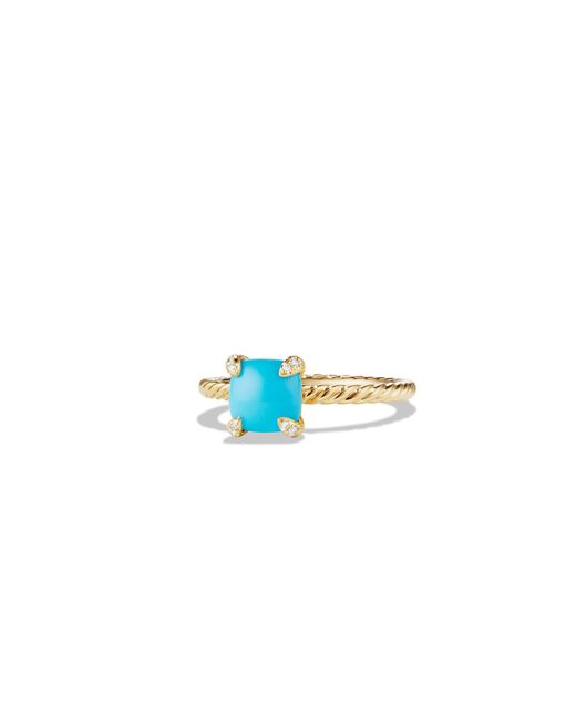 David Yurman - Blue Chatelaine Ring With Turquoise And Diamonds In 18k Gold, 7mm - Lyst