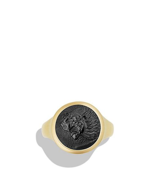 David Yurman | Petrvs Lion Signet Pinky Ring With Black Onyx In 18k Gold for Men | Lyst