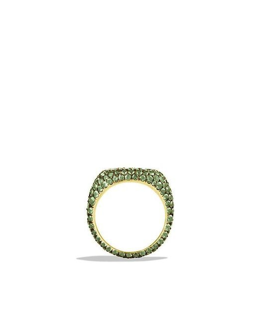 David Yurman | Pavé Pinky Ring With Demantoid Garnets In 18k White Gold | Lyst