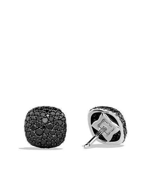 David Yurman Pavé Earrings With Black Diamonds In 18k White Gold Lyst