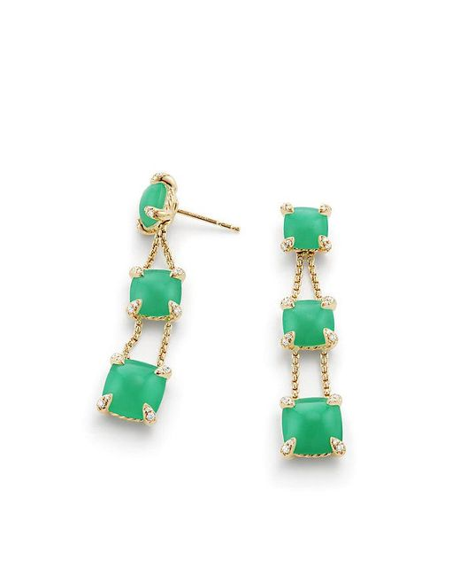 David Yurman | Multicolor Chatelaine® Linear Chain Earrings With Chrysoprase And Diamonds In 18k Gold | Lyst