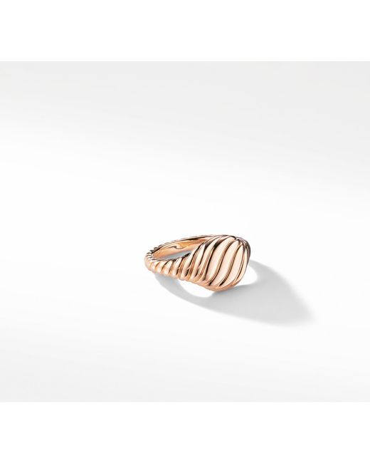 David Yurman - Metallic Sculpted Cable Mini Pinky Ring In 18k Rose Gold - Lyst