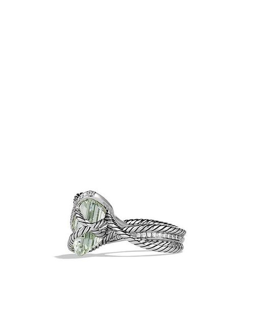 David Yurman | Metallic Cable Wrap Ring With Prasiolite And Diamonds | Lyst