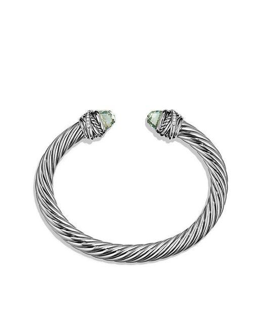 David Yurman | Metallic Cable Classic Crossover Bracelet With Prasiolite And Diamonds, 7mm | Lyst