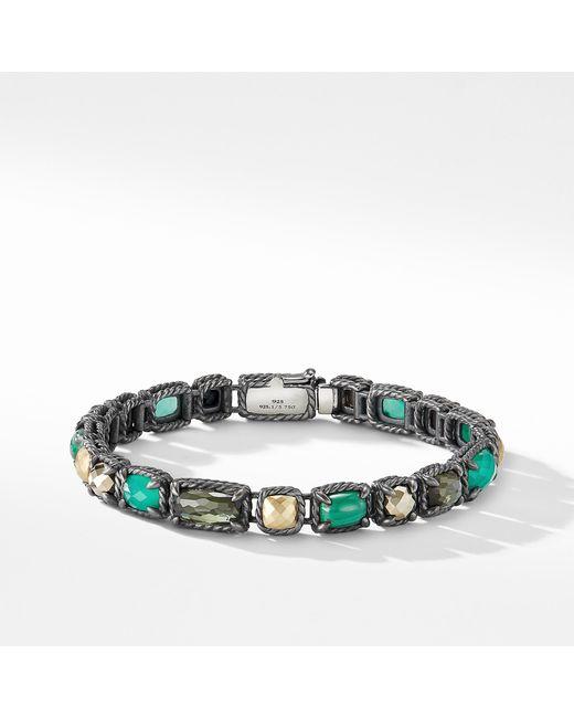 David Yurman - Green Chatelaine Mosaic Tennis Bracelet With 18k Gold - Lyst