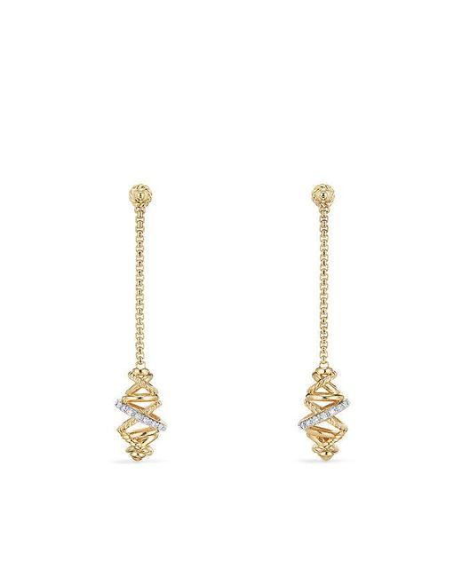 David Yurman | Metallic Crossover Chain Drop Earrings With Diamonds In 18k Gold , 54mm | Lyst