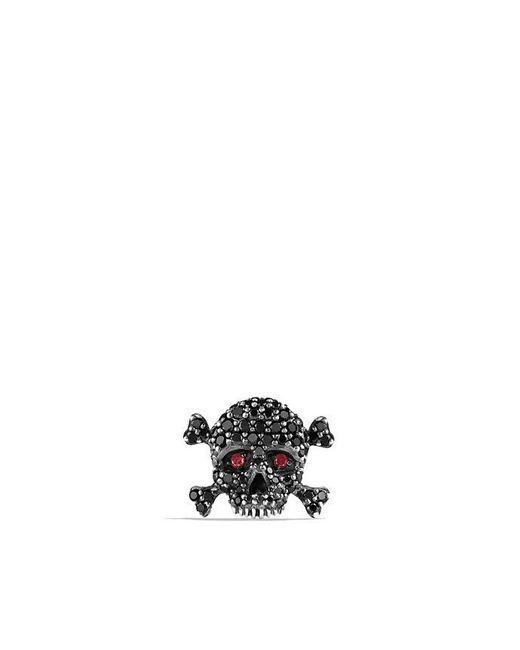 David Yurman - Metallic Skull Stud Earring With Black Diamonds - Lyst