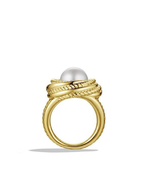 David Yurman | White Crossover Pearl Ring With Diamonds In 18k Gold | Lyst