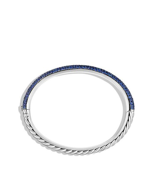 David Yurman - Blue Limited Edition Pavé Cable Bangle With Sapphires In White Gold - Lyst